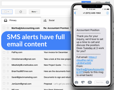 SMS Alerts Have Full Email Content